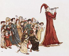Legend of the Pied Piper Leading the Children of Hamlet Astray