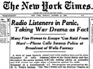 War of the Worlds News Article 1938-min